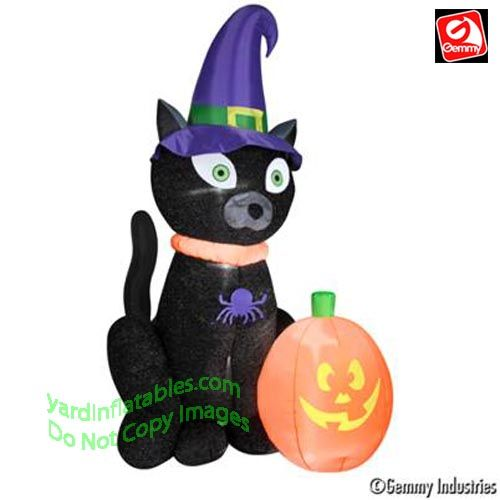 gemmy airblown inflatable mixed media black cat w witch hat approx 6 tall - Blow Up Halloween Decorations