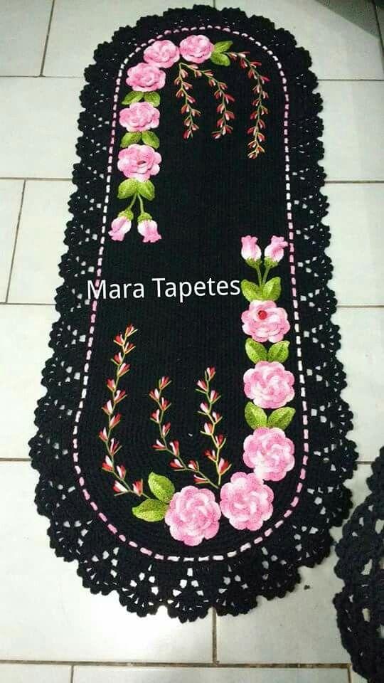 Ideias Xiques ~ +1000 imagens sobre Tapetes de croch u00ea variados no Pinterest Conjuntos De Banheiro, Tapetes De