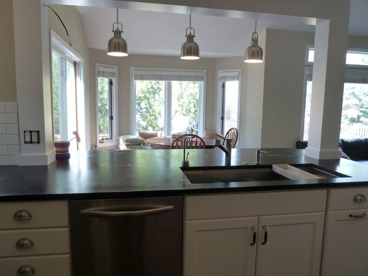 Incorporate a support post into kitchen island kitchen for Kitchen wall island