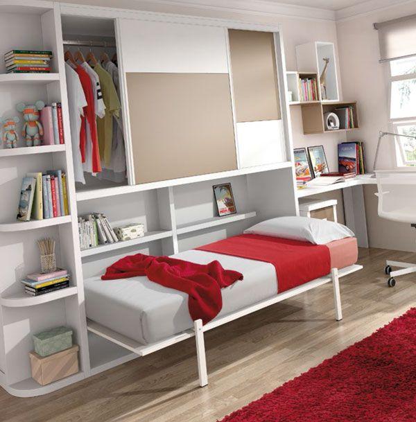 Cama abatible horizontal con armario de 220 cm de la for Cama abatible horizontal