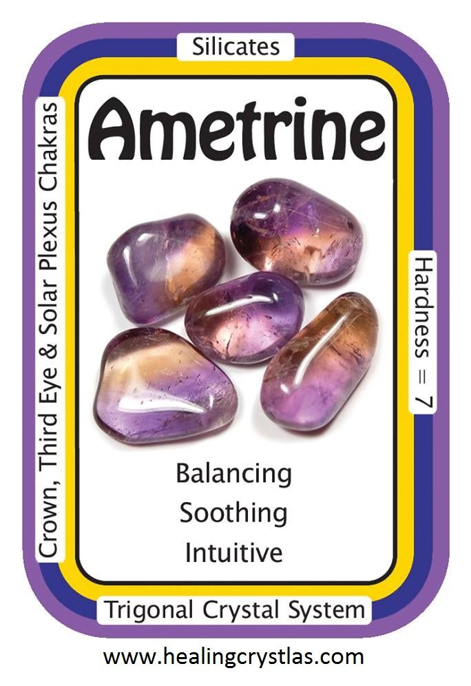 Ametrine is a very soothing stone, believed to be valuable for those with chronic, long-term diseases. The Amethyst part of Ametrine is thought to help one experience Divine Guidance, while the Citrine aspect allows for this guidance to be assimilated into one's life. Many people use Ametrine for stress-relief, and as such, it is optimally placed in areas where one would need it the most, i.e. in one's office or cubicle, in the car, in a pocket, or wherever you find yourself under stress.