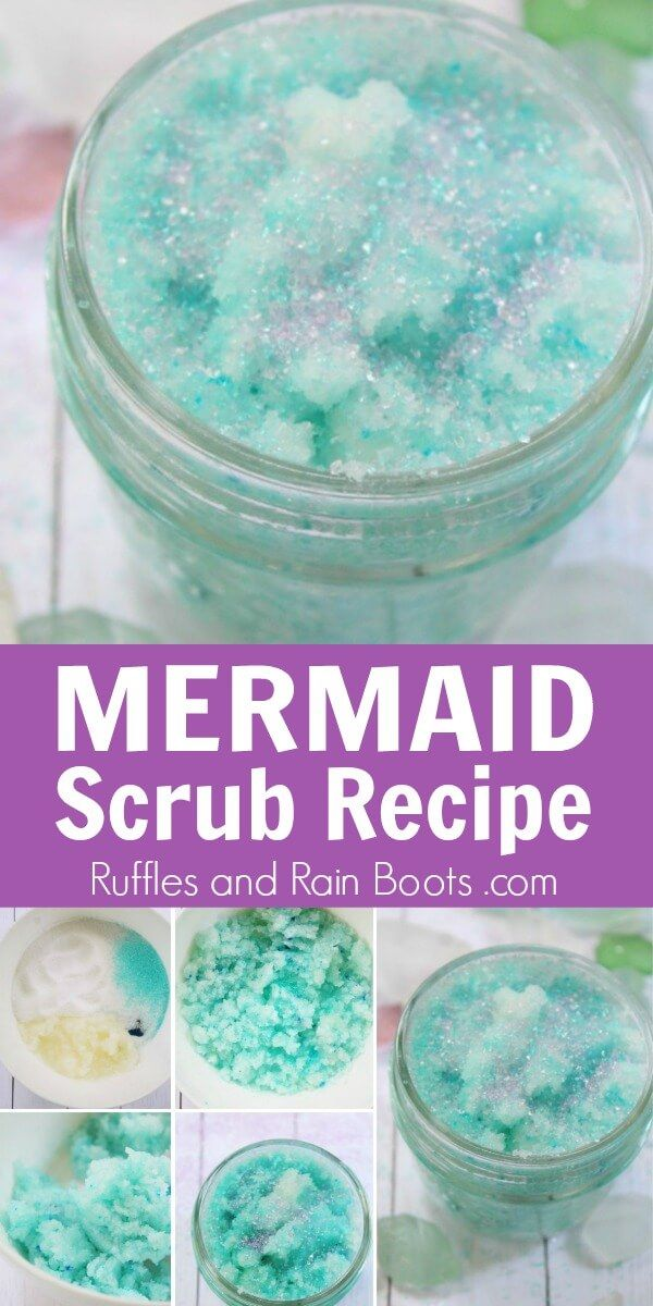 My winter feet totally need a summer refresh from this mermaid sugar scrub! Click here to see how she makes this easy mermaid foot scrub super fast! #sugarscrub #mermaidcrafts #mermaid #sugarscrubrecipes #rufflesandrainboots