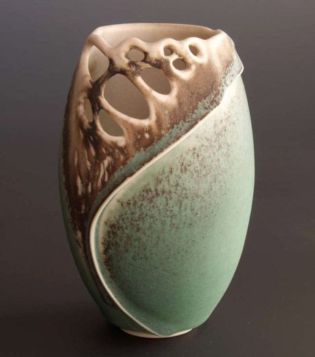 Clare Wakefield, design ceramic vase, muted aqua and earthy colors