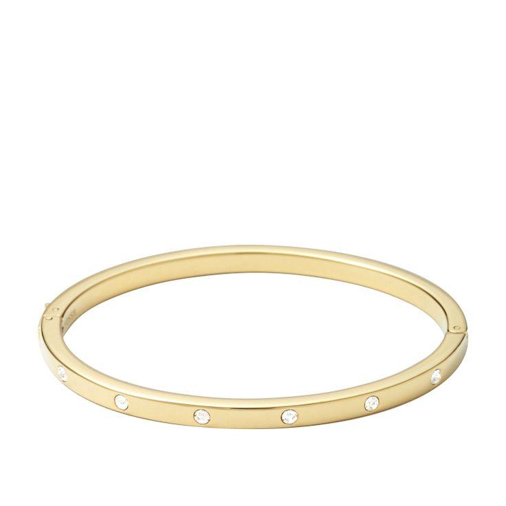 Bracciale rigido con finiture gold e cristalli #FOSSIL Jewels - #ororagioiellerie