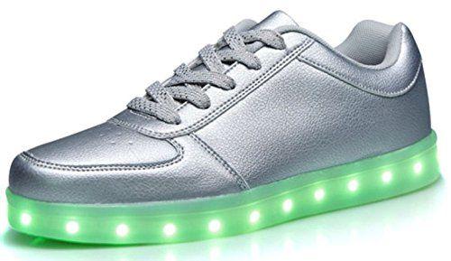 Unisex LED Sneaker Schuhe Blinkschuhe Leuchtschuhe Damen Herren Silver Gold Lowcut (42, Silber) - http://on-line-kaufen.de/verstrahlt/42-eu-unisex-led-sneaker-schuhe-blinkschuhe-damen-2