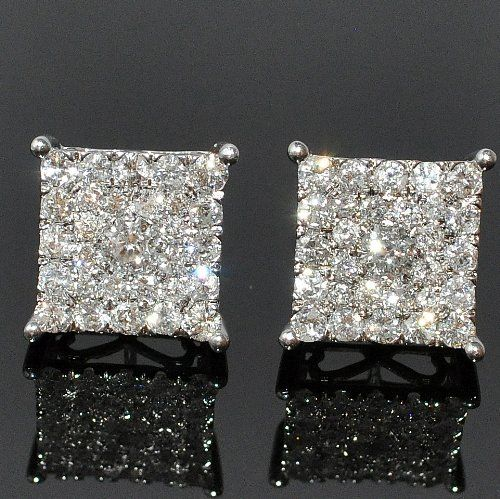 Men S Diamond Stud Earrings Xl Square Round Dia Back White Gold 1 53ct For Only 349 00 You Save 3 146 70 Love Fashion In 2018