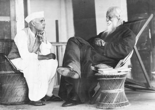"""Rabindranath Tagore and Jawaharlal Nehru - November 4 1936, Bolpur Bengal    """"Patriotism cannot be our final spiritual shelter; my refuge is humanity. I will not buy glass for the price of diamonds, and I will never allow patriotism to triumph over humanity as long as I live. """"  ― Rabindranath Tagore     """"Politics and religion are obsolete; the time has come for science and spirituality."""" ― Sri Jawaharlal Nehru"""