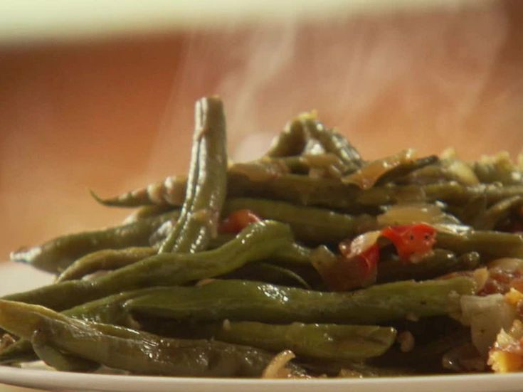 Southern Style Beans, Much Different than I Usually Cook Them Still Crunchy: The Best Green Beans Ever from FoodNetwork.com