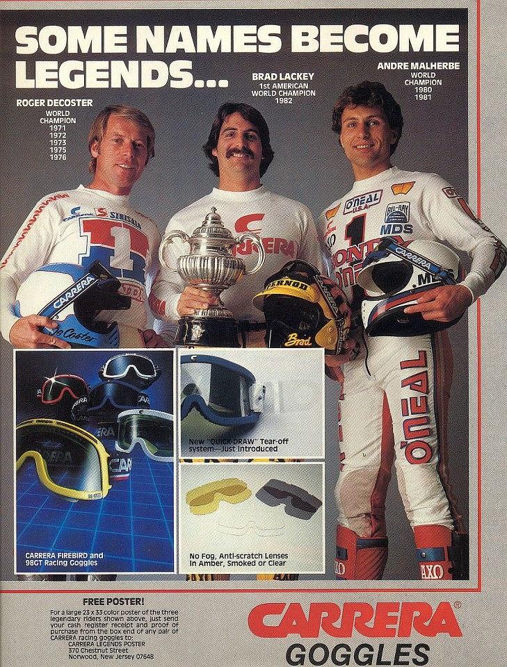 Carrera Goggles featuring Roger DeCoster, Brad Lackey, Andre Malherbe