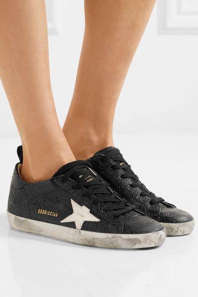 a01f4af64 Golden Goose Deluxe Brand - Superstar Distressed Cracked-leather Sneakers -  Black