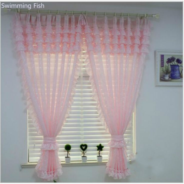 >> Click to Buy << Rustic Purple Pink Curtain Window Screening for Children Princess Bedroom,Jacquard Tulle Blind with Scollop Lace #Affiliate