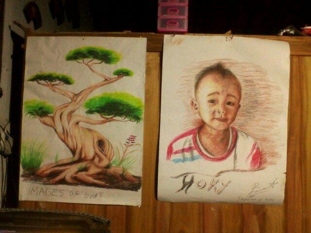 Lukisan ini adalah lukisan saya yang ke 26 , lukisan ini bergambarkan adik saya dan sebuah pohon kecil.