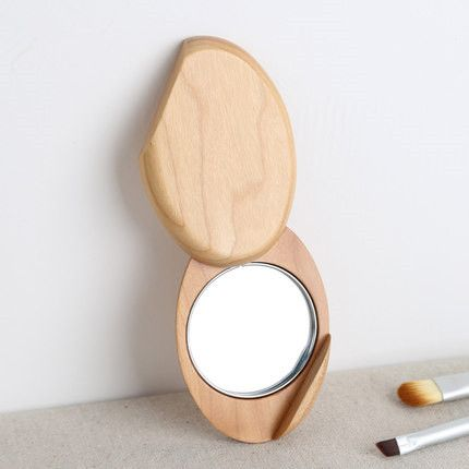 hand-polished oval portable decorative wood mirrors beauty makeup mirror mini flexible rotating exquisite high-definition mirror