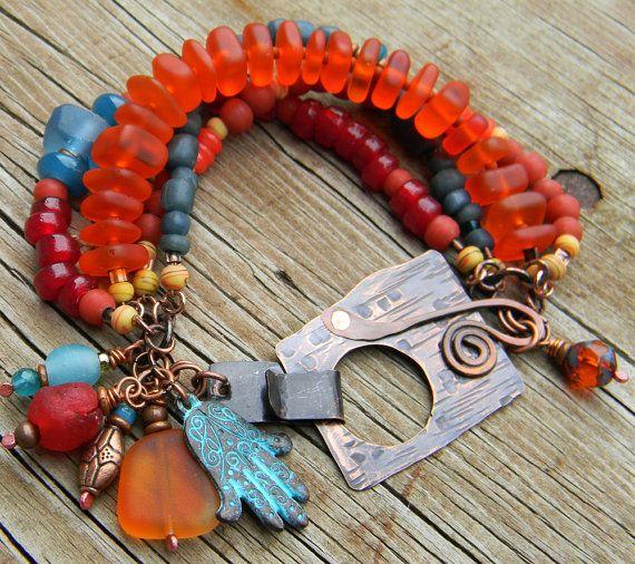 Recycled Orange Glass Bracelet by Gloria Ewing.
