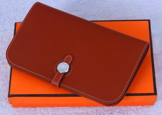 Кошелек Hermes кожаный коричневый большой. Размер 19х12см #18496