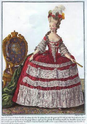El vestido volante (robe volante) con corpiño ajustado en corsé, grandes pliegues.