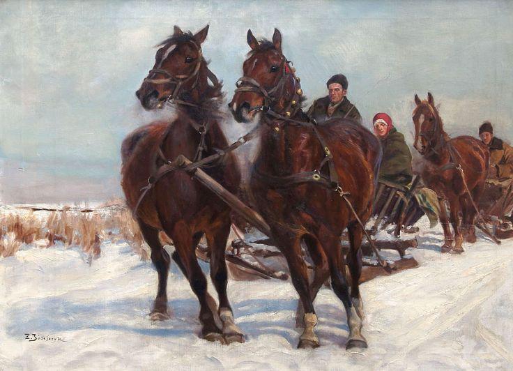 Zygmunt JÓZEFCZYK (1881-1966) 'Zimowe zaprzęgi'
