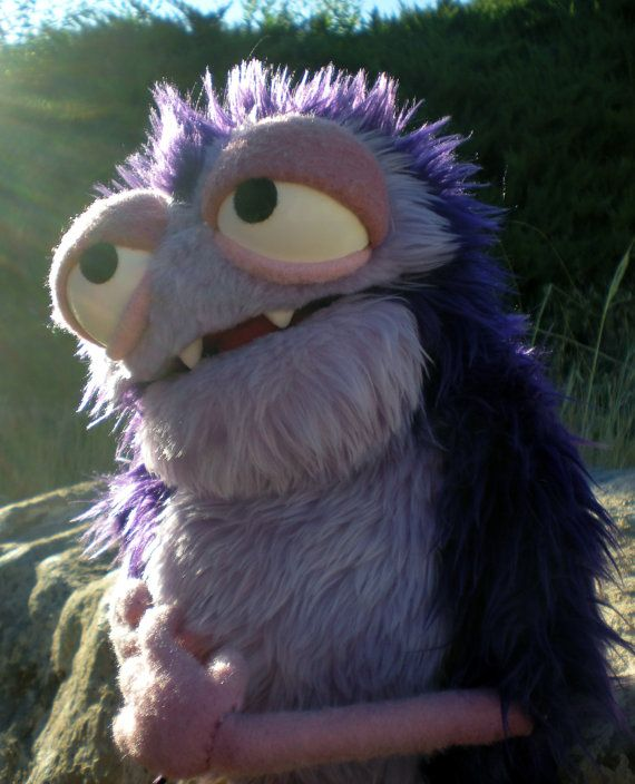 Furry Purple Monster Muppet Style Hand Puppet. by BlankPuppets via Etsy.
