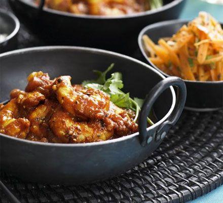 Prawn Curry with garlic, ginger, cumin, coriander, mustard seeds, turmeric and tomato - Saturday night dinner