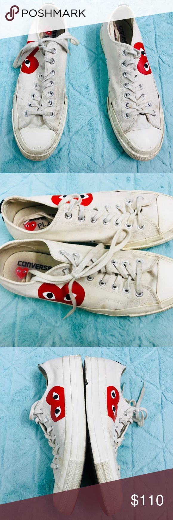 Converse Comme des Garcons white low top 9M/ 11W Shoes and laces are dirty and show signs of wear as shown in photos. Perfect for the worn look!  Come with original box.  Price is FIRM here due to Poshmark fees.  $95 shipped (comments only)  Tags: #cdg #comme #commedesgarcons #cdgplay #converseplay #lowtops Comme des Garcons Shoes Sneakers