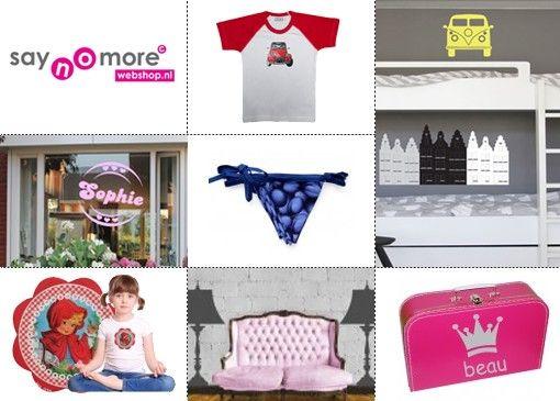 Saynomore is dé shop voor muur- en raamstickers, strijkapplicaties, slingers en de stoerste ontwerpen voor t-shirts.