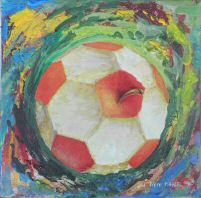 DSCN0566.JPG peinture Pierre Marcel sur l'actualité mondiale juin 2014, la coupe du monde du football au Brésil : Pomme croquée, Football