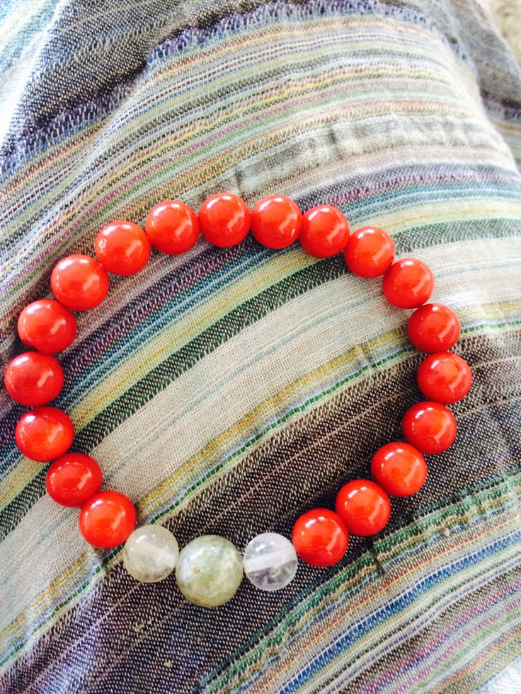 Red coral, Agat & Jasper Handmade meditation bracelet. Attracting love and prosperity.