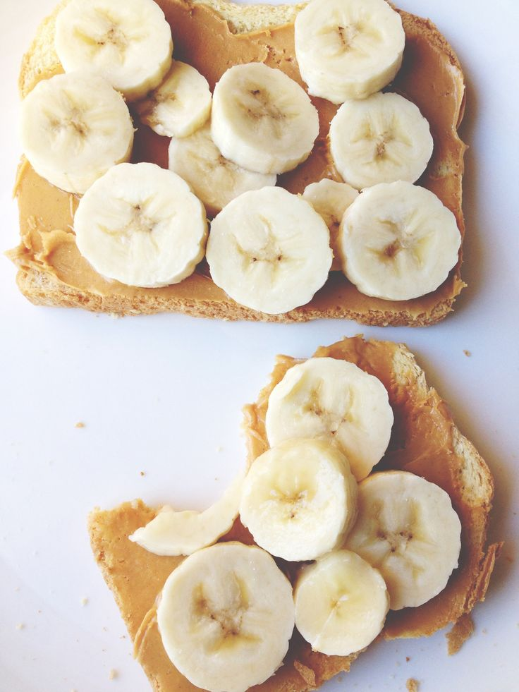 Healthy snacks to have while at work. Peanut butter banana on wheat bread