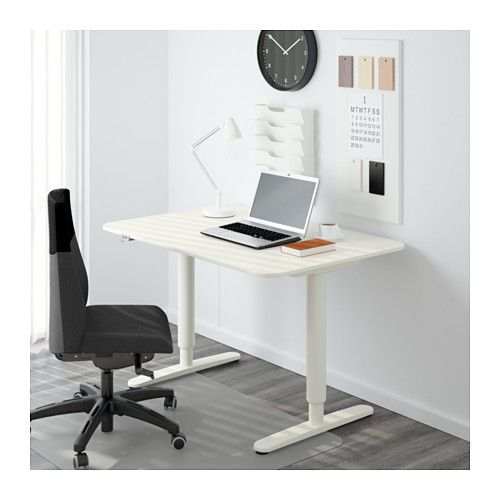 """IKEA - BEKANT, Desk sit/stand, white, , 10-year Limited Warranty. Read about the terms in the Limited Warranty brochure.You can adjust the height of the table top electrically from 22"""" to 48"""" to ensure an ergonomic working position.Changing positions between sitting and standing helps you both feel and work better.It's easy to keep your desk neat and tidy with the cable management net under the table top.The melamine surface is durable, stain resistant and easy to keep ..."""