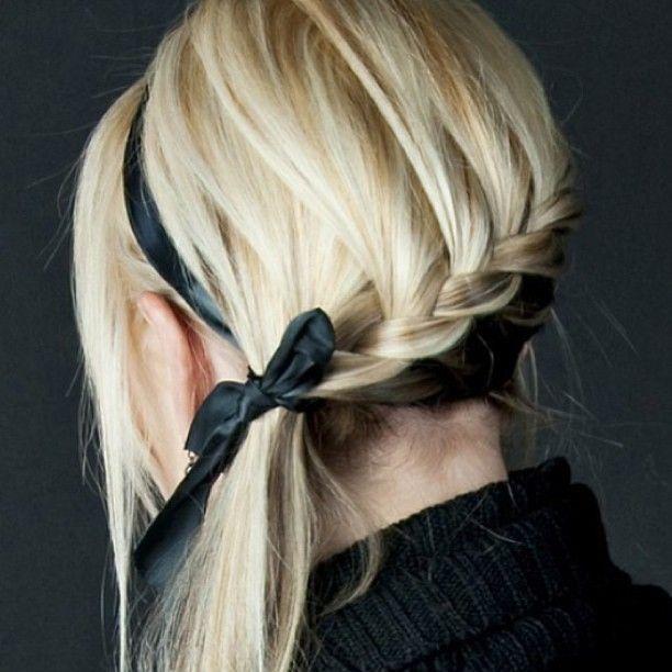 Couette sur le côté avec tresse africaine et serre tête // Side braided ponnytail with ribon hairband