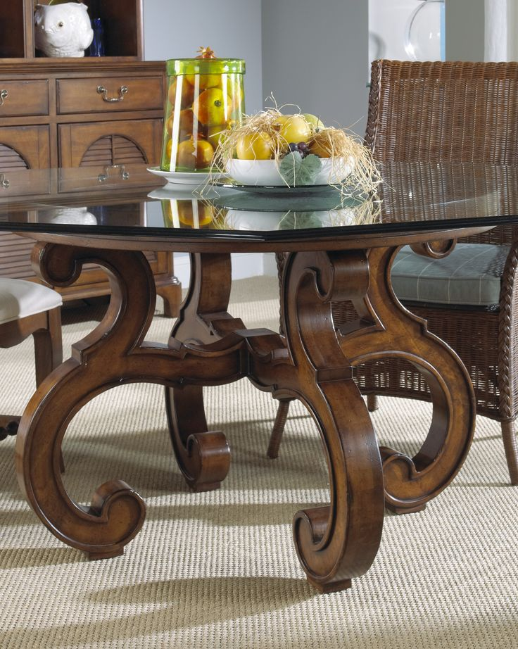 Glass Top Dining Table With Antique Brown Wooden Curved Pedestal .