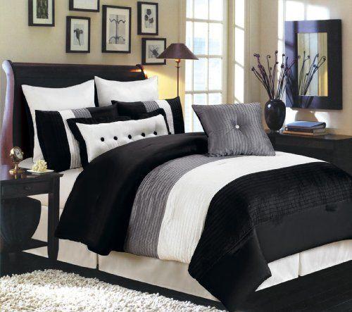 Valentino 8 Piece Oversized Comforter Set Black Grey