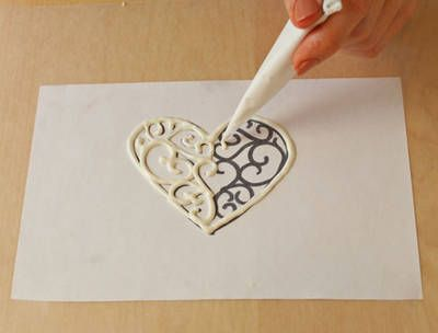 Pattern under wax paper for chocolate design or monogram cupcake topper  @Chris Danforth