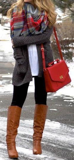 Grey jacket, brown boots