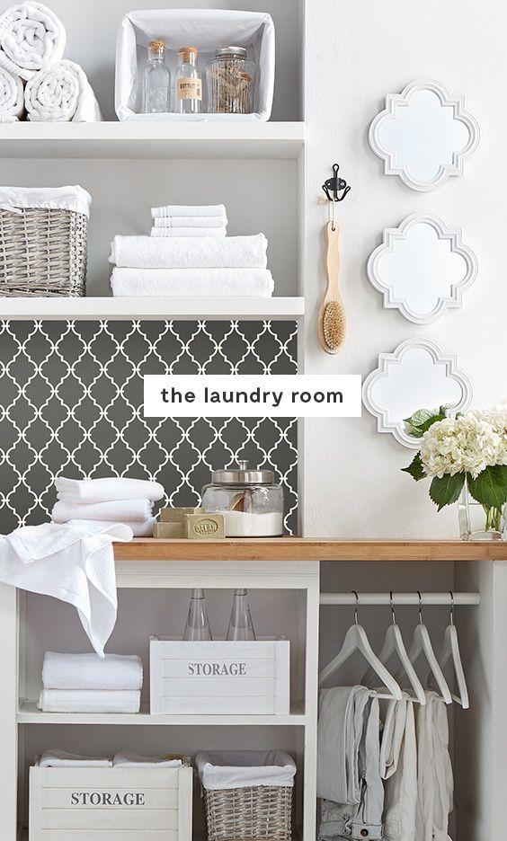 Laundry room #Goals Store cleaning products on higher shelves – out of reach of children. Use baskets with removable cloth liners to easily clean up any spills. Add a touch of fun wallpaper for the ultimate style statement.  Keep countertops clear to allow space for folding laundry. Fill in any empty spaces with decorative design elements like mirrors, flowers and vases to boost the overall look.