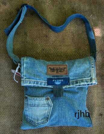 Small denim handbag made from jean's trouser leg.