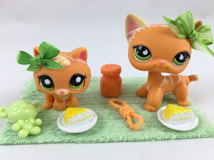 "Littlest Pet Shop RARE Orange ""Mommy & Kitten"" #525/1998 w/Accessories #Hasbro"