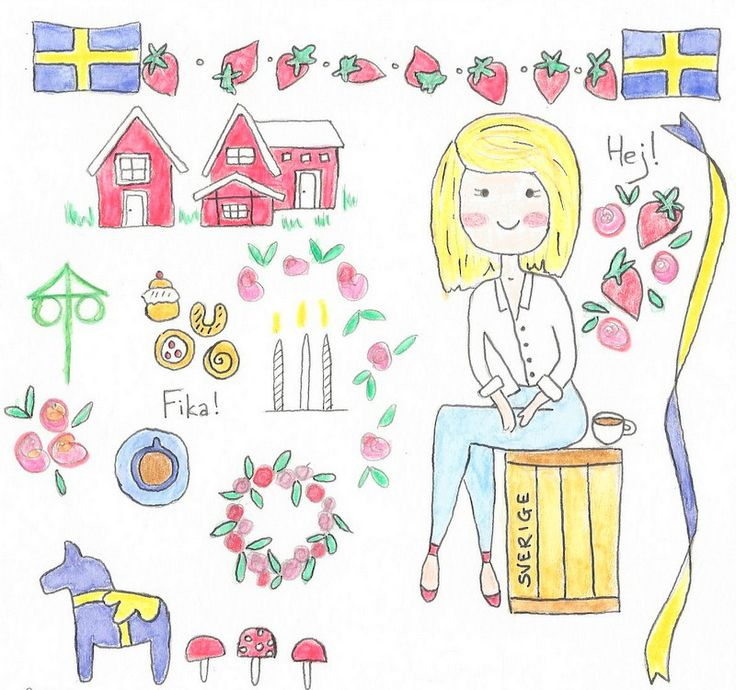 Girl + luggage in sweden   illustration, drawing, art, stockholm, dala horse, scandinavia, kawaii, cute