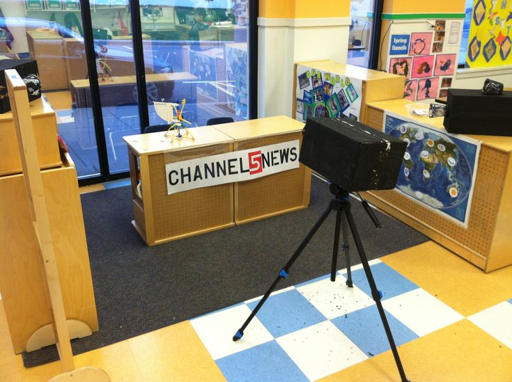 News station! Kid-made cameras. Microphones. Interactive weather map