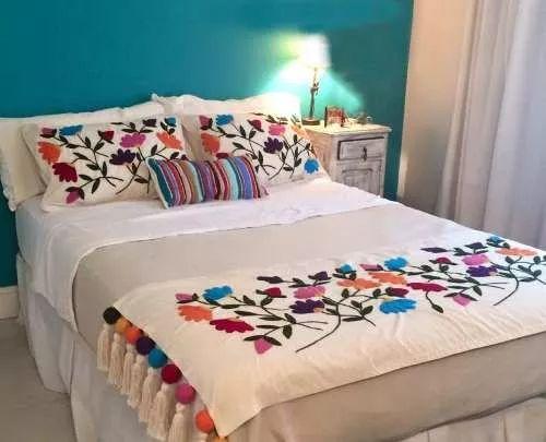 kit bordado mexicano pie de cama queen 2 plazs+2 almohadones