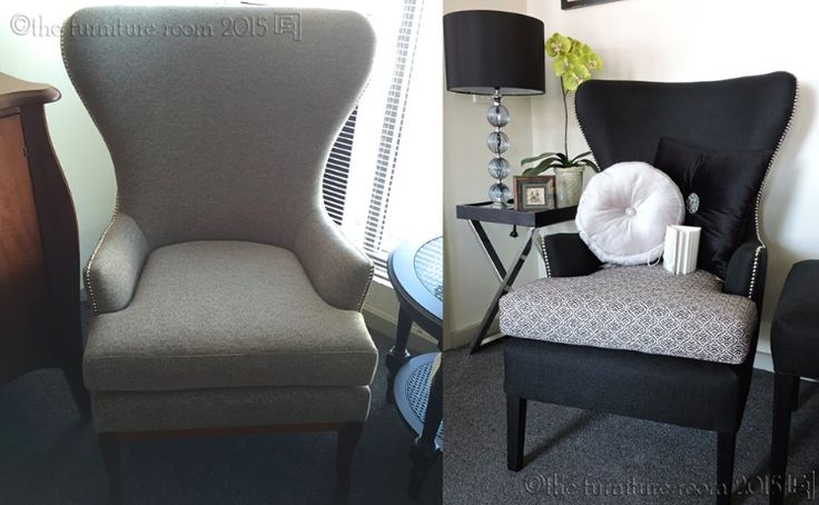 The Tailor-made process   A classic example of a custom made order: the wing back arm chair on the left that is displayed in our showroom caught our customer's eye. The chair on the right is a tailor-made wing back chair inspired by our displayed chair. With the help of our talented staff, our customer added their own flare by selecting fabrics that complimented their decor & modifying the size & shape. On pick up day our customer had some fun playing with cushions before heading home!