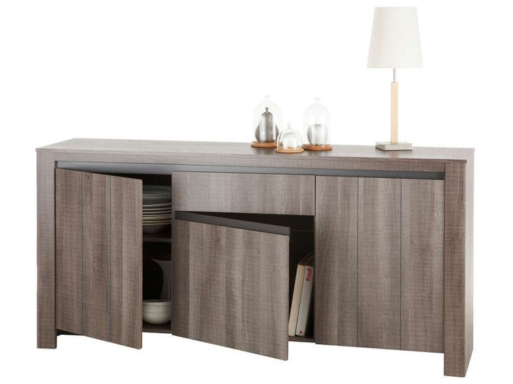 buffet 3 portes 1 tiroir lana 2 reglisse pas cher c. Black Bedroom Furniture Sets. Home Design Ideas