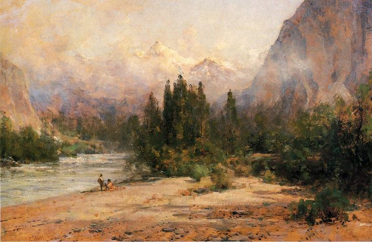 Gap rivière Bow à Banff, le chemin de fer Pacifique canadien de Thomas Hill (1829-1908, United Kingdom)