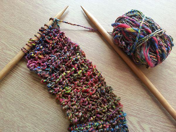 A bibbly bobbly scarf in my hand spun rainbow merino wool on chunky needles!