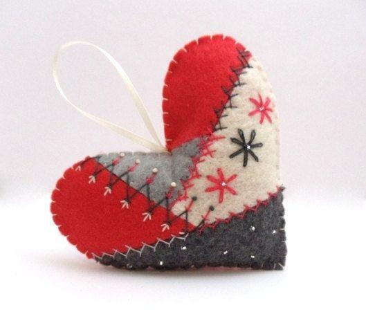 Crazy Quilt Felt Heart Ornament by BananaBugAndZod on Etsy, $16.50