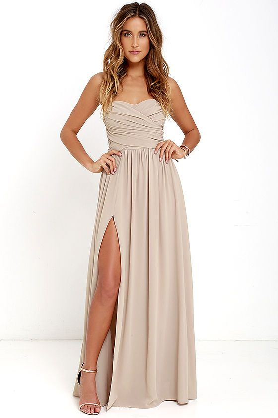 Taupe color dresses with shoes