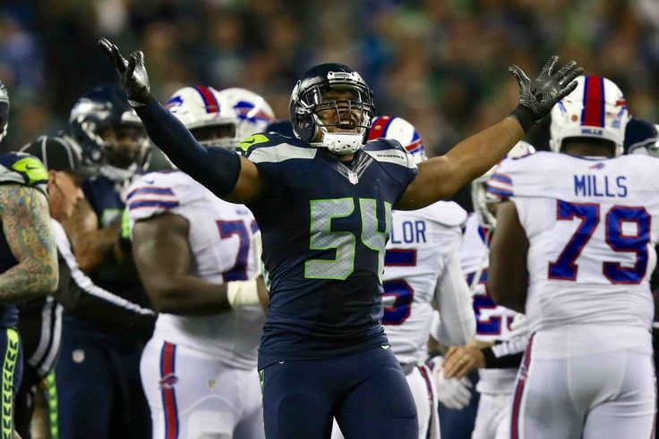 Monday Night Football: Bills vs. Seahawks:   November 7, 2016  - 31-25, Seahawks  -     Seahawks linebacker Bobby Wagner celebrates after sacking the Bills quarterback Tyrod Taylor on the last drive of the game of the fourth quarter. (Johnny Andrews / The Seattle Times)