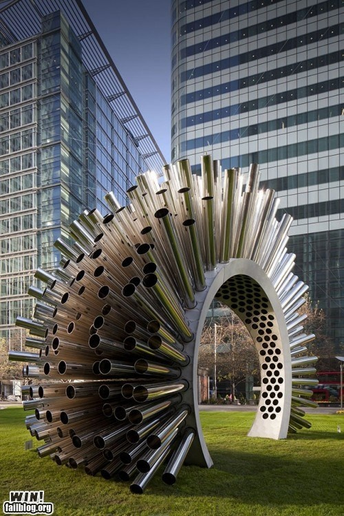 Wind-playing sculpture. Canary Wharf in London
