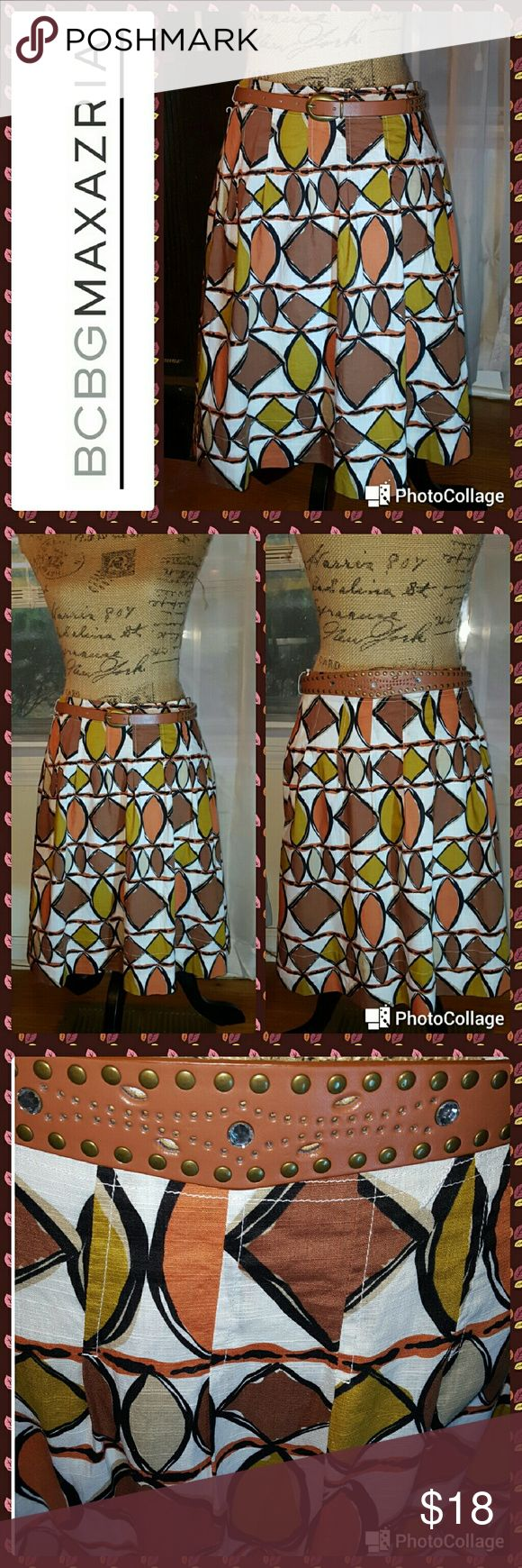 """Bcbgmaxazria brown abstract print full skirt In great condition.  BCBGMAXAZRIA skirt. Cream based with orange, brown and gold abstract pattern.  Full style.  Side zipper.  Completely lined.  I've added a leather belt with small rhinestones.  Measurements are length 20.5"""", waist 30"""". l BCBGMaxAzria Skirts A-Line or Full"""