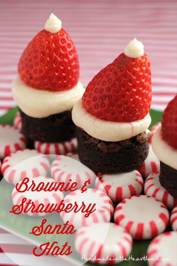 Brownie and Strawberry Santa Hats